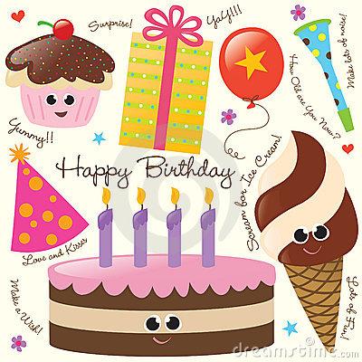 Retro Birthday Party Clip Art Royalty Free Stock Photography.