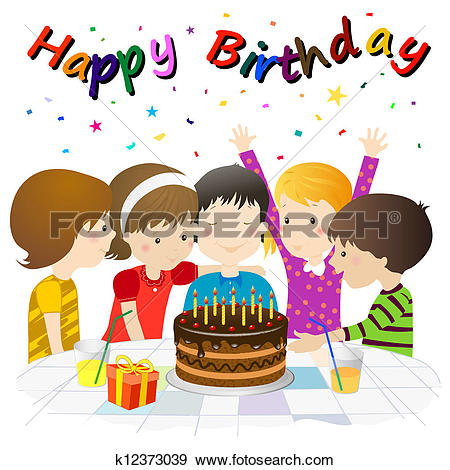 Clip Art of Group of Friends Celebrating a Birthday With a.