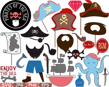 Pirate Photo Booth Props Pirates clip art maps Party Birthday masks love.