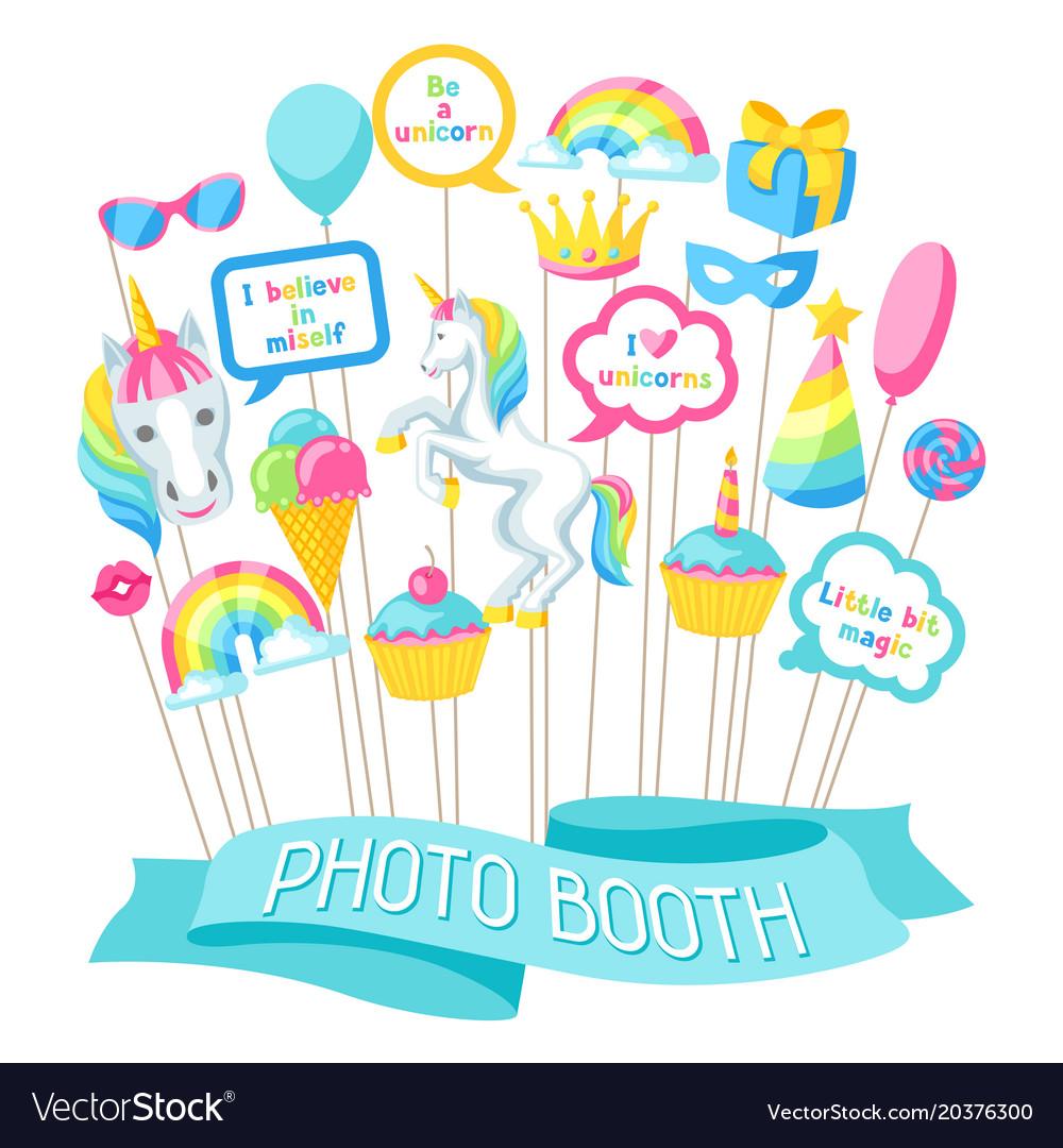 Happy birthday photo booth props fantasy items.