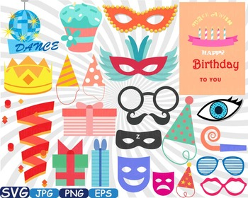 Birthday Party Photo Booth Props clip art Celebration happy new year shirt.
