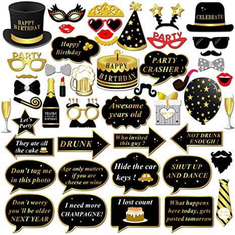 Happy Birthday Party Photo Booth Props with Stick (49Counts) for Her Him  Funny Birthday Black and Gold Decorations, Konsait Happy Birthday Party.