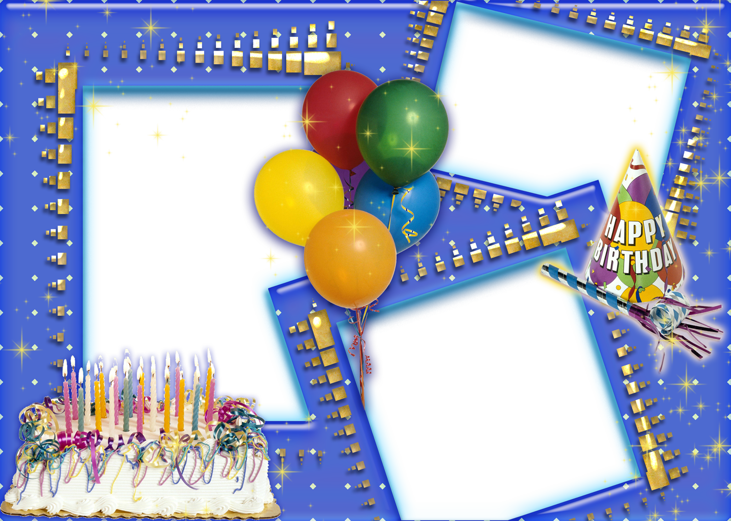 Birthday Collage Frame PNG Transparent Images.