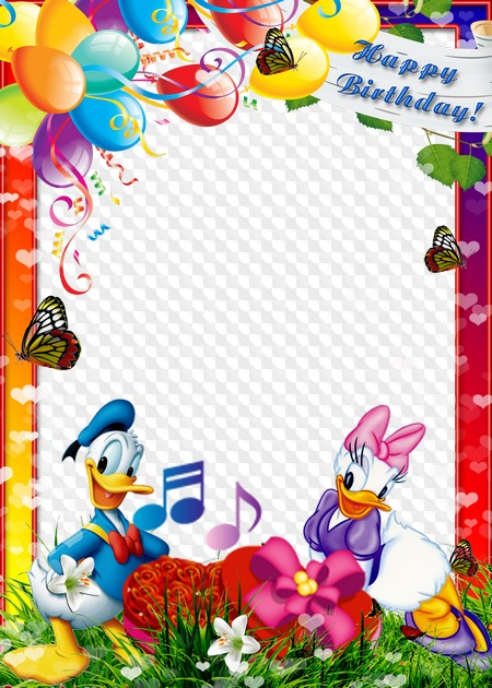 PSD, PNG, Happy Birthday! photo frame with Donald Duck. Transparent.