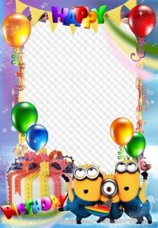 Happy birthday photo frame for children.