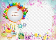 Children's Birthday frames, photo frames, PNG, PSD.