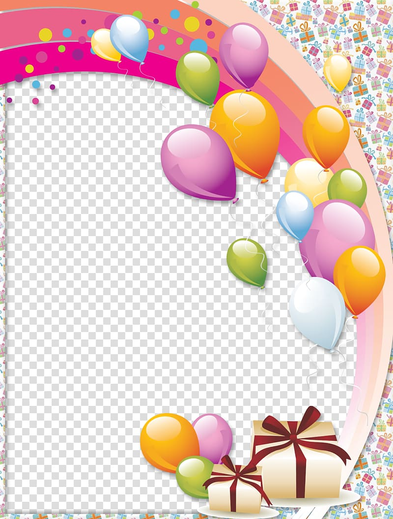 Multicolored balloons and gifts frame, Birthday cake Frames Happy.