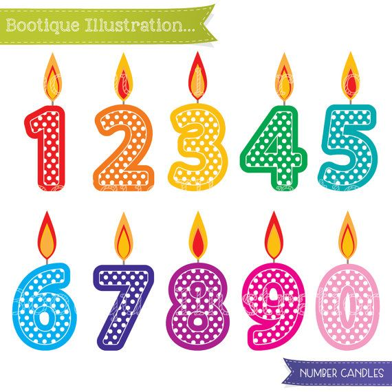 Number Candles Clipart Set for Instant Download includes 10.