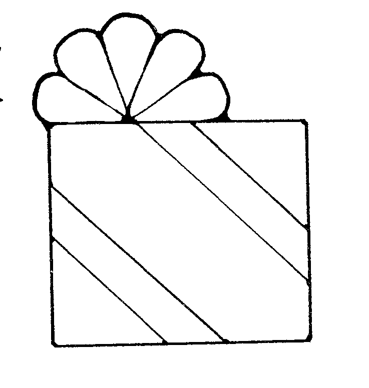 Birthday Present Black And White Clipart.