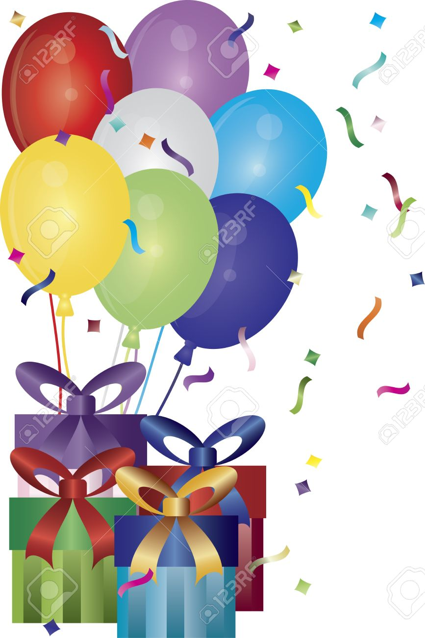 Happy Birthday Presents Balloons and Confetti Illustration.