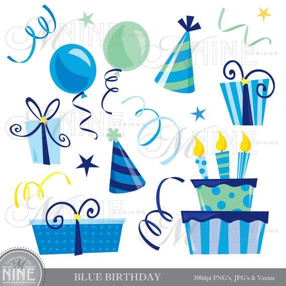 BLUE BIRTHDAY Clip Art: Vector Birthday Clip Art, Instant.