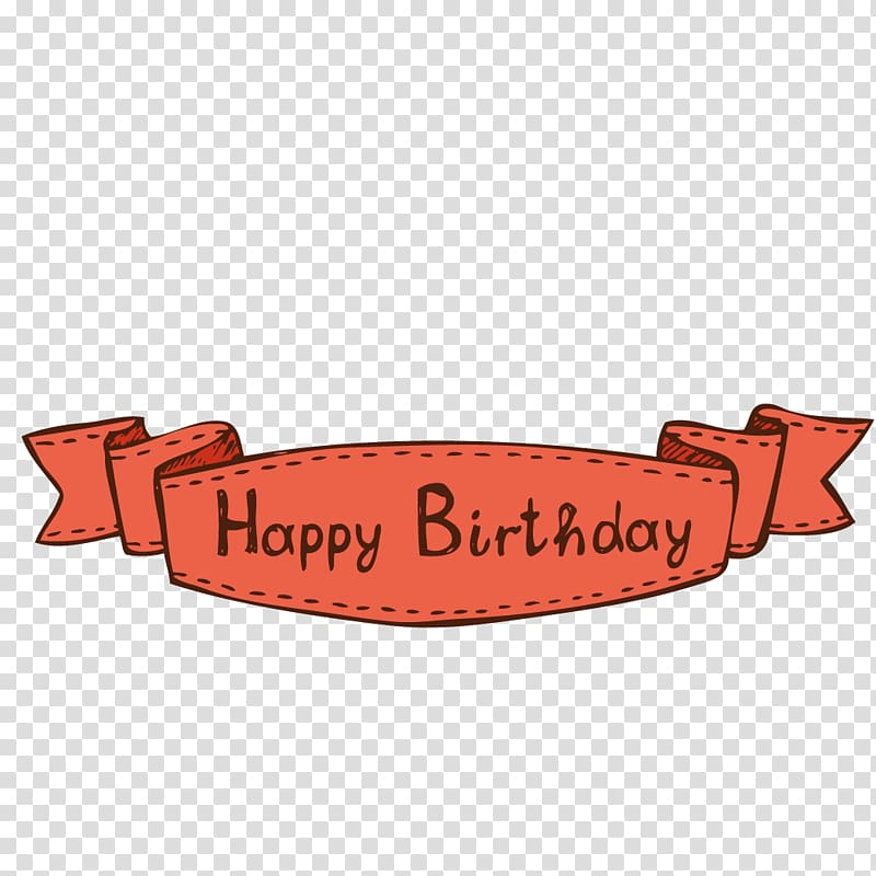 Pink Happy Birthday banner illustration, Ribbon Label.