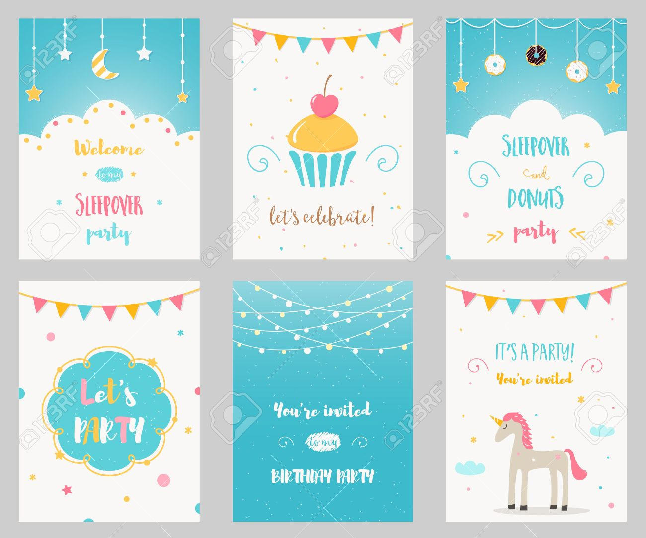 Vector Set of Birthday and Sleepover Kids Party Invitations.