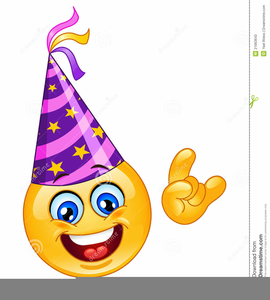Smiley Face With Birthday Hat Clipart.