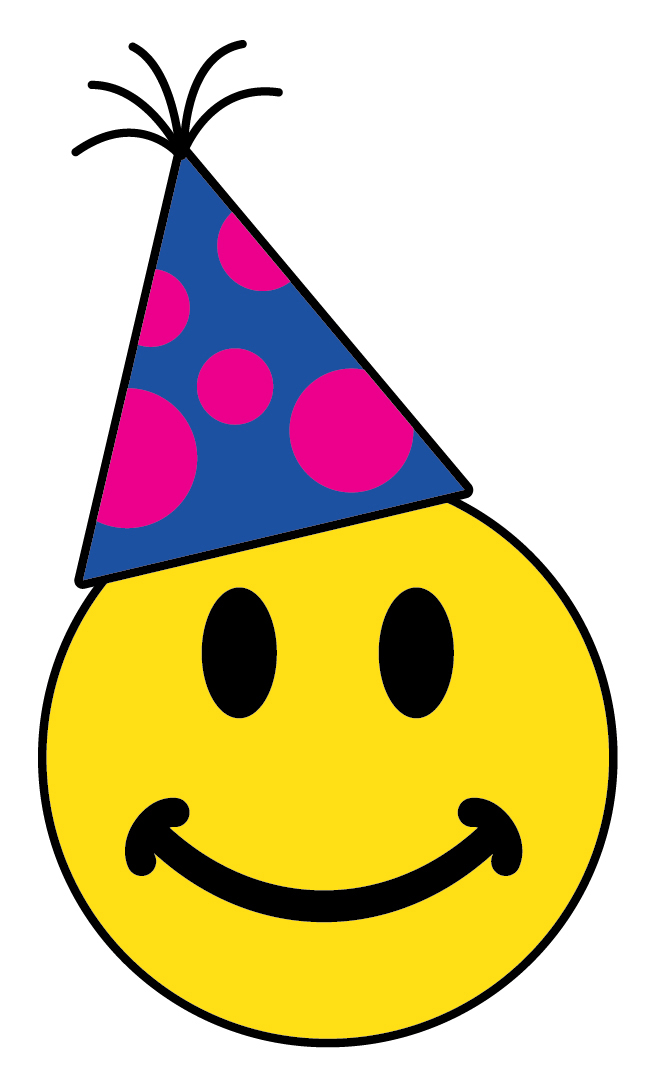 Smiley Face With Party Hat Clipart.