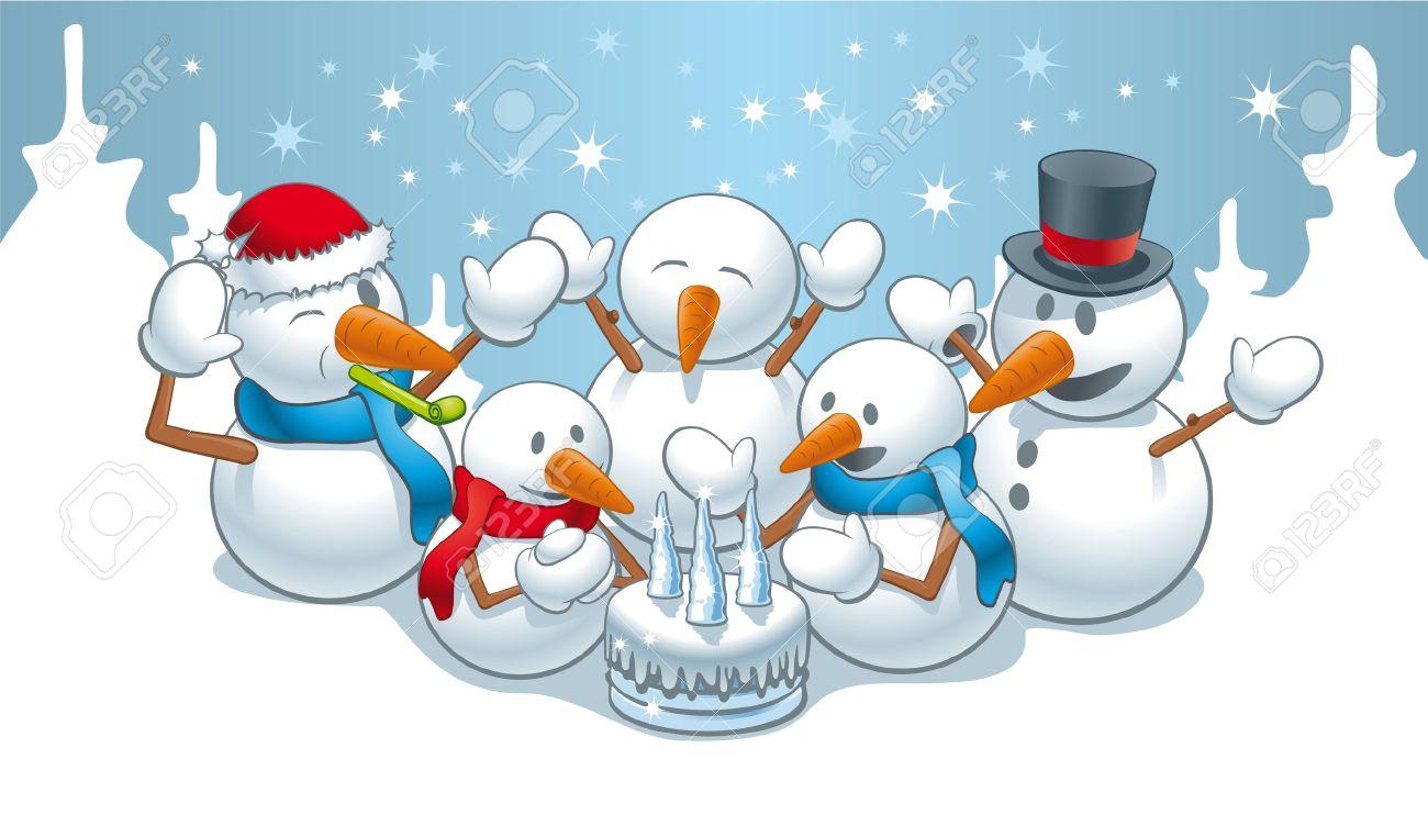 Birthday Snowman Clipart Cute.