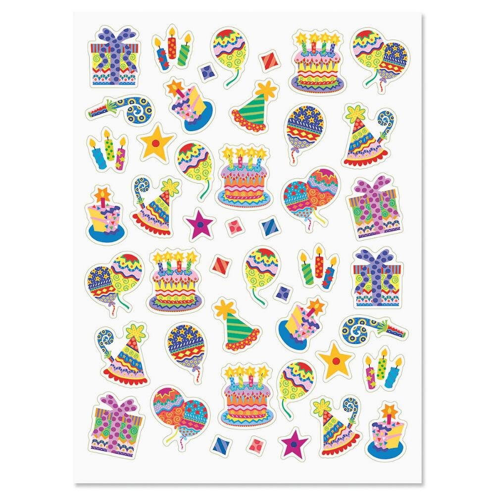 Colorful Celebration Birthday Party Stickers.