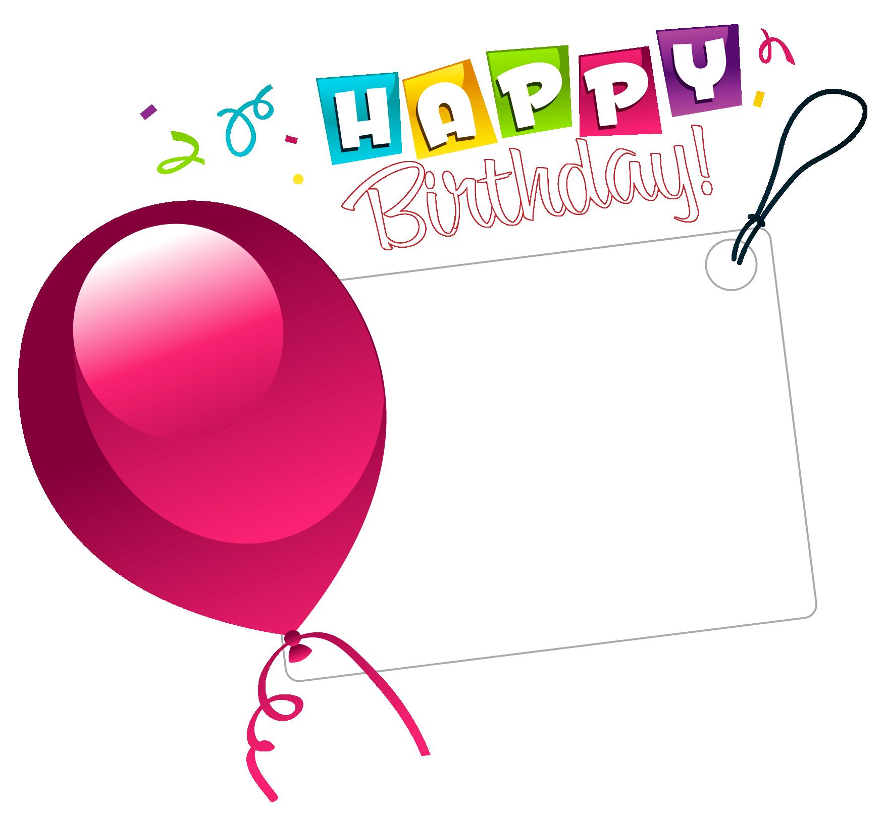 Happy Birthday Transparent Sticker with Pink Balloon.