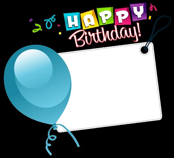 Happy Birthday Transparent Sticker with Blue Balloon.