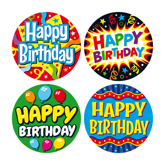 BIRTHDAY MIXED PACK 6 STICKERS.