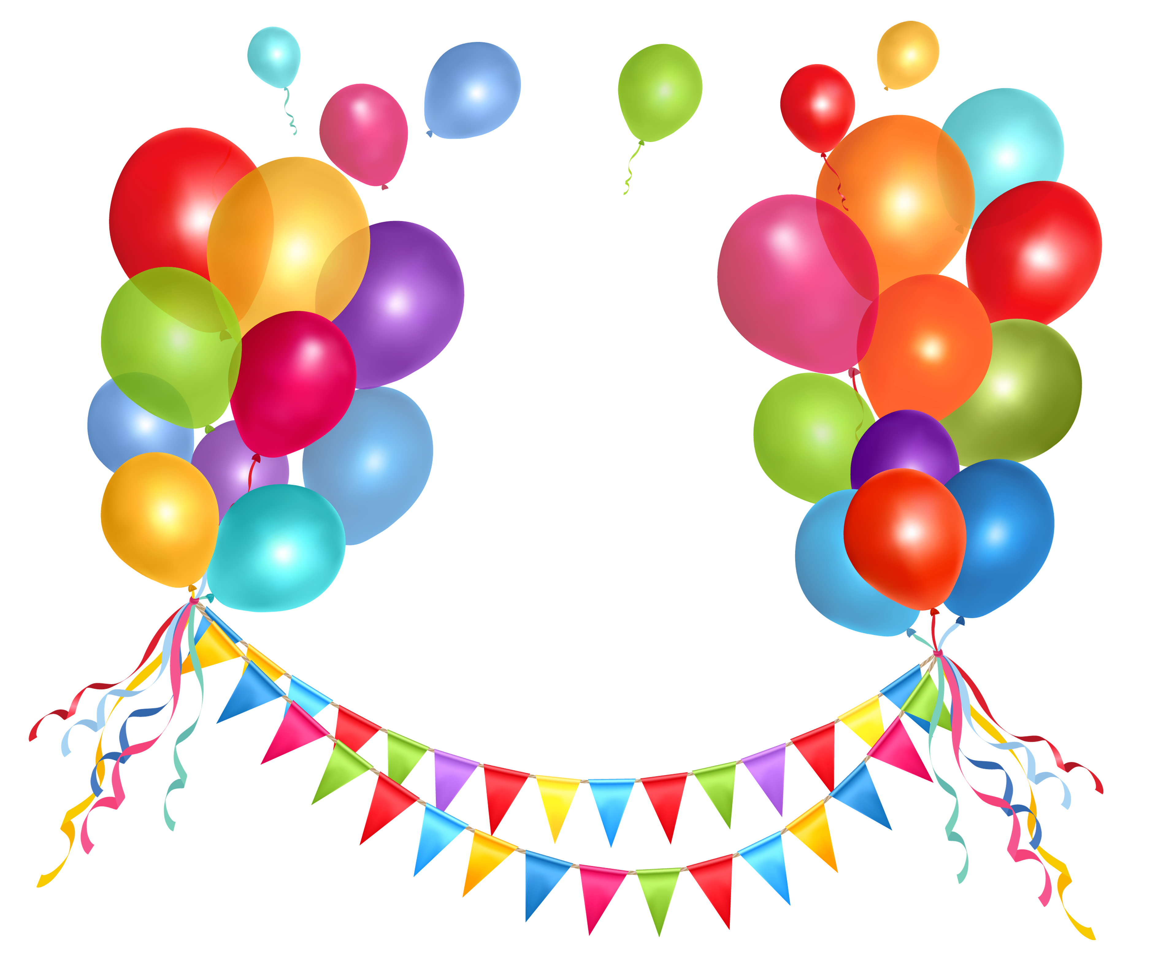 Transparent Party Streamer and Balloons PNG Clipart Picture.