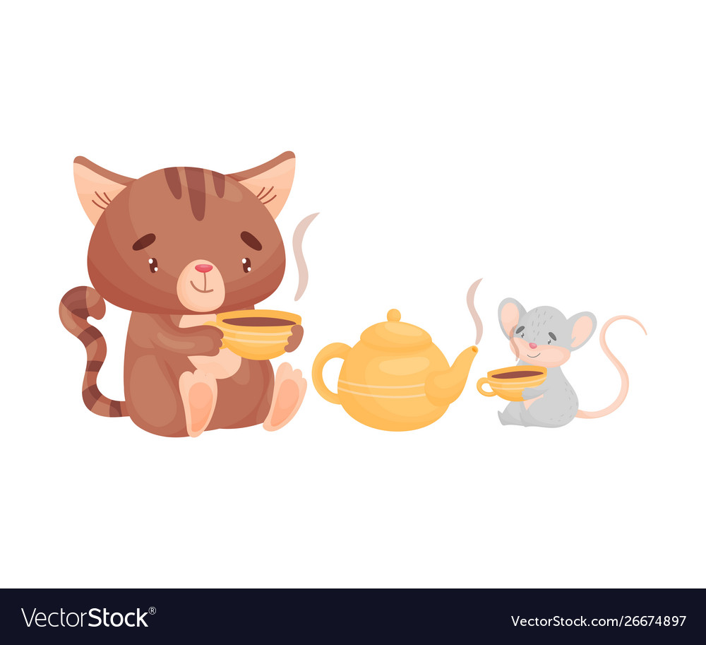 Cartoon cat and mouse drink tea together.