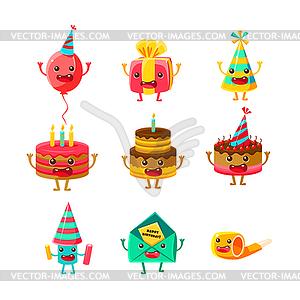 Happy Birthday And Celebration Party Symbols Cartoo.