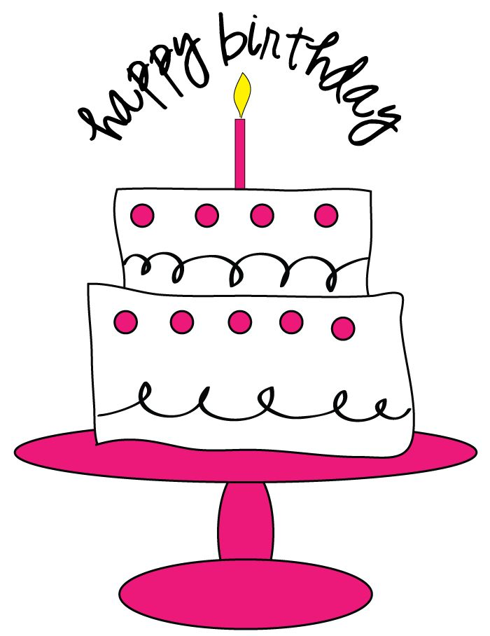 Funny birthday cake on a table clipart.
