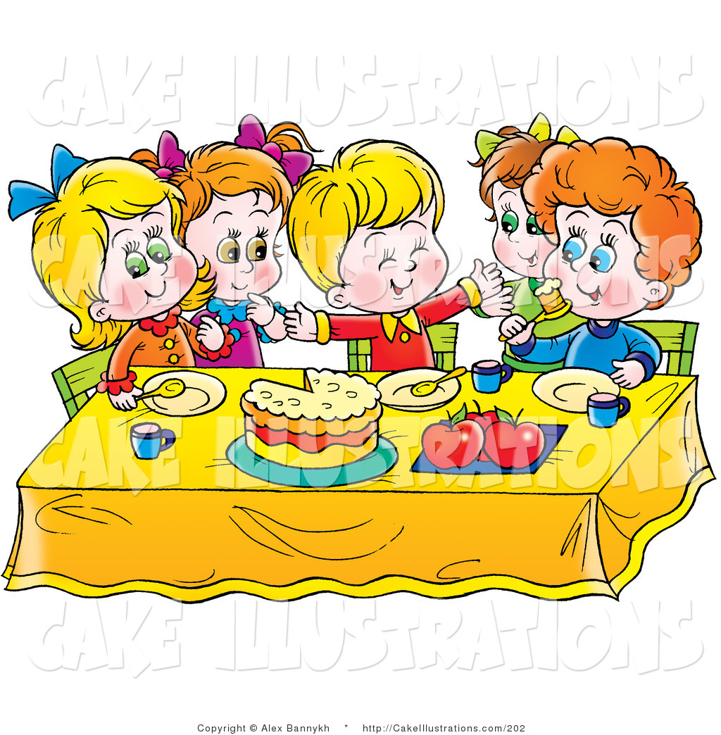Birthday cake on a table clipart.