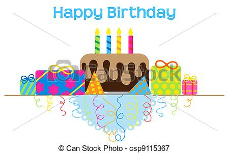 Vectors Illustration of Cute and Simple Birthday Table csp9115367.