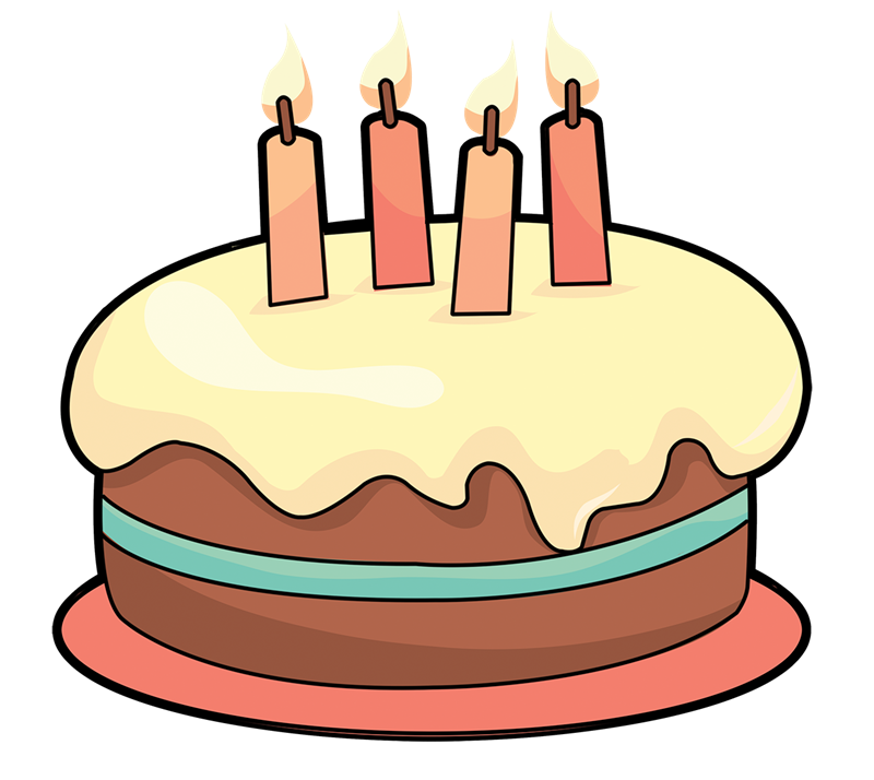 Cake on table clipart.
