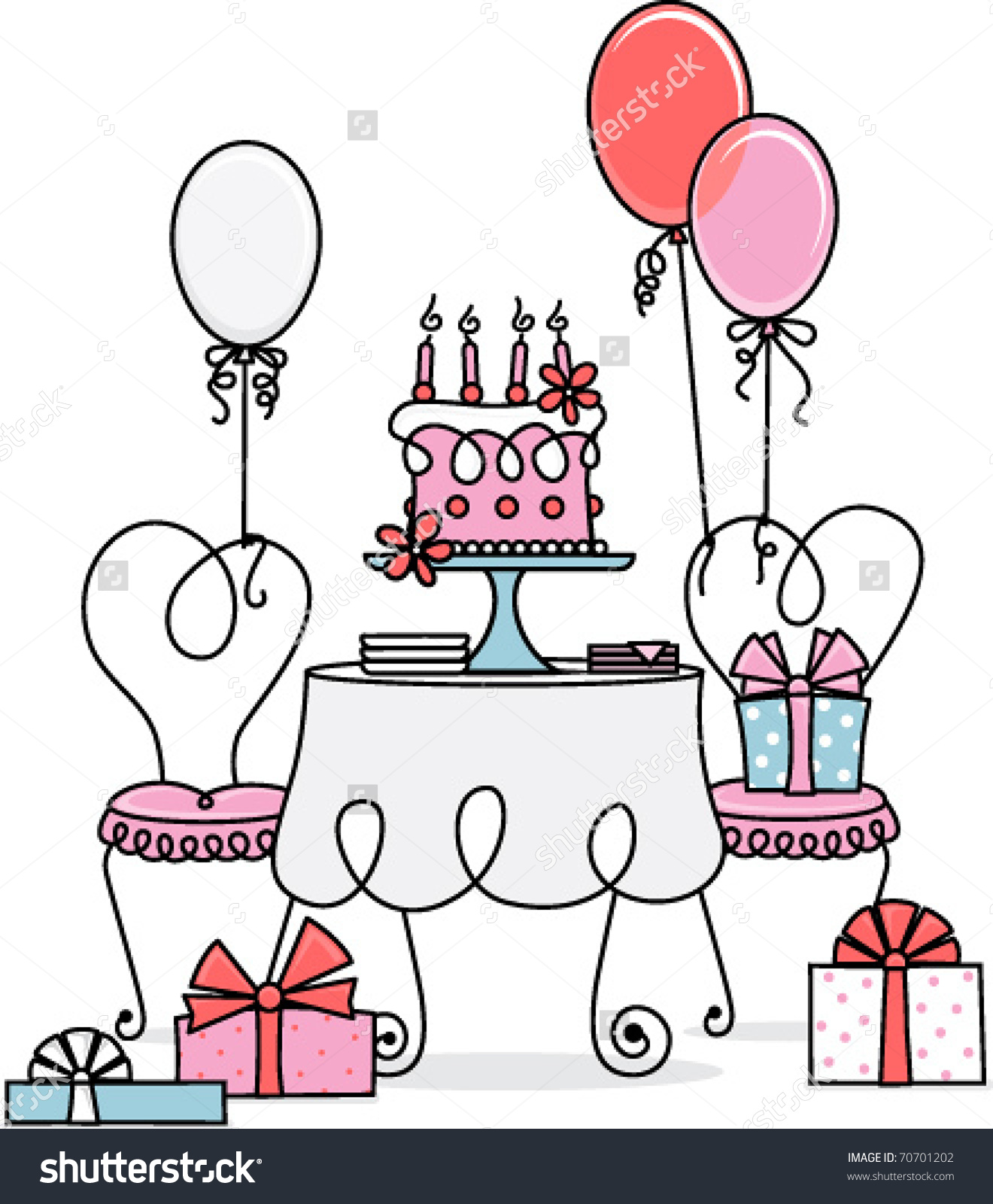 Retro Birthday Table Stock Vector 70701202.