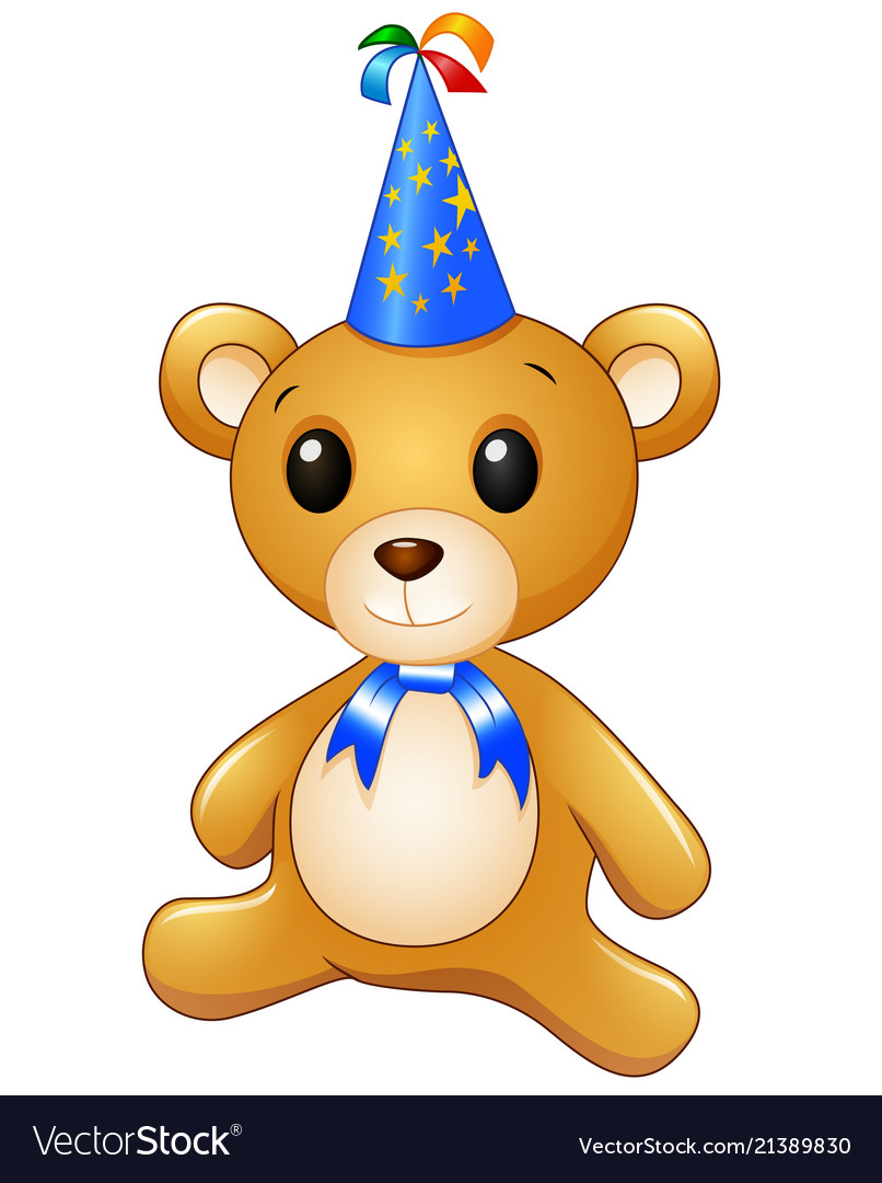 Teddy bear cartoon celebrating birthday.