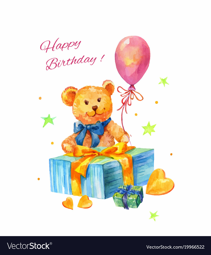 Watercolor birthday with teddy bear balloon gift.
