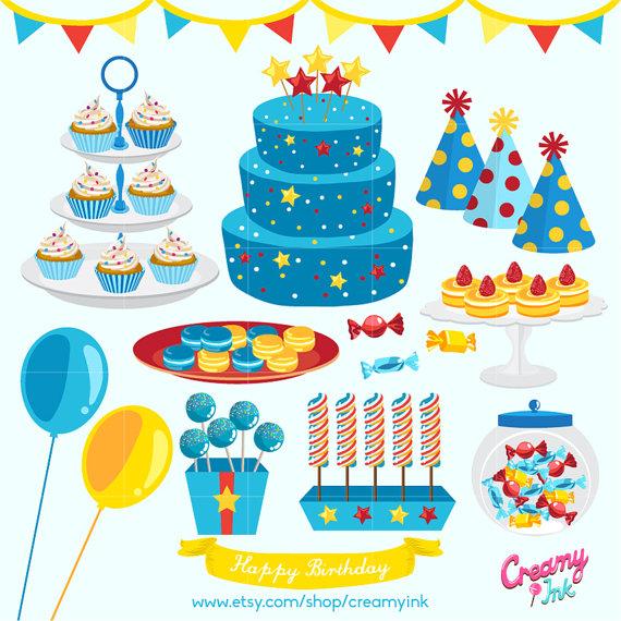 Boys Birthday Party Digital Vector Clip art/ Baby Boy Cakes.