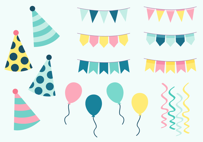 Birthday Party Elements Vector.
