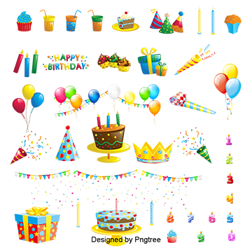 Cartoon Birthday Elements, Birthday Clipart, Gift Boxes.