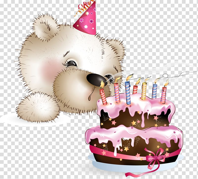 Bear blowing cake candle illustration, Birthday cake Happy.