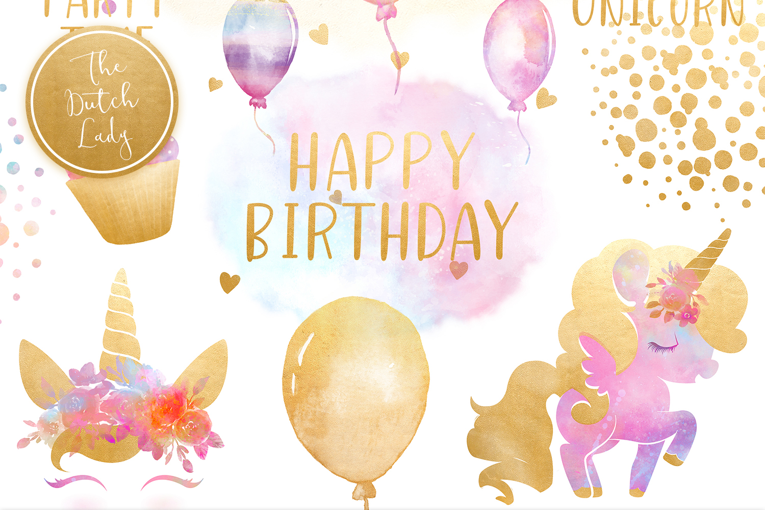 Unicorn Birthday Party Clipart Set.