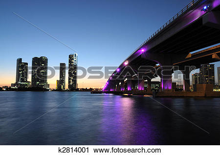 Stock Photography of Bridge over the Biscayne Bay at night, Miami.