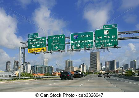 Picture of Miami Downtown Florida road signs Key Biscayne.