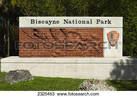 Stock Photo of Biscayne national park sign;Florida united states.
