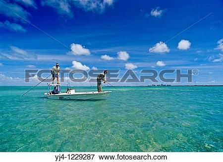 Picture of flats fishing for bonefish, Albula vulpes, Stiltsville.