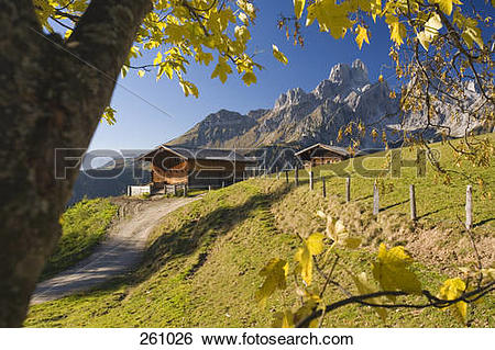Stock Images of Log cabins on mountain, Sulzenalm, Bischofsmutze.