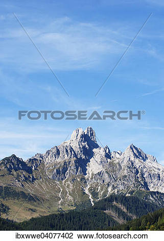"Stock Photo of ""View from Filzmoos to Bischofsmutze, Gosaukamm."