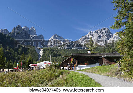 "Stock Image of ""Unterhofalm with Gosaukamm, Dachstein Massif."