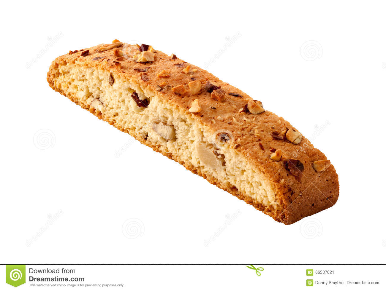 Biscotti Almond Biscuit Isolated Stock Photo.