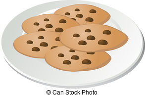 Stock Illustration of Assorted cookies on plate.