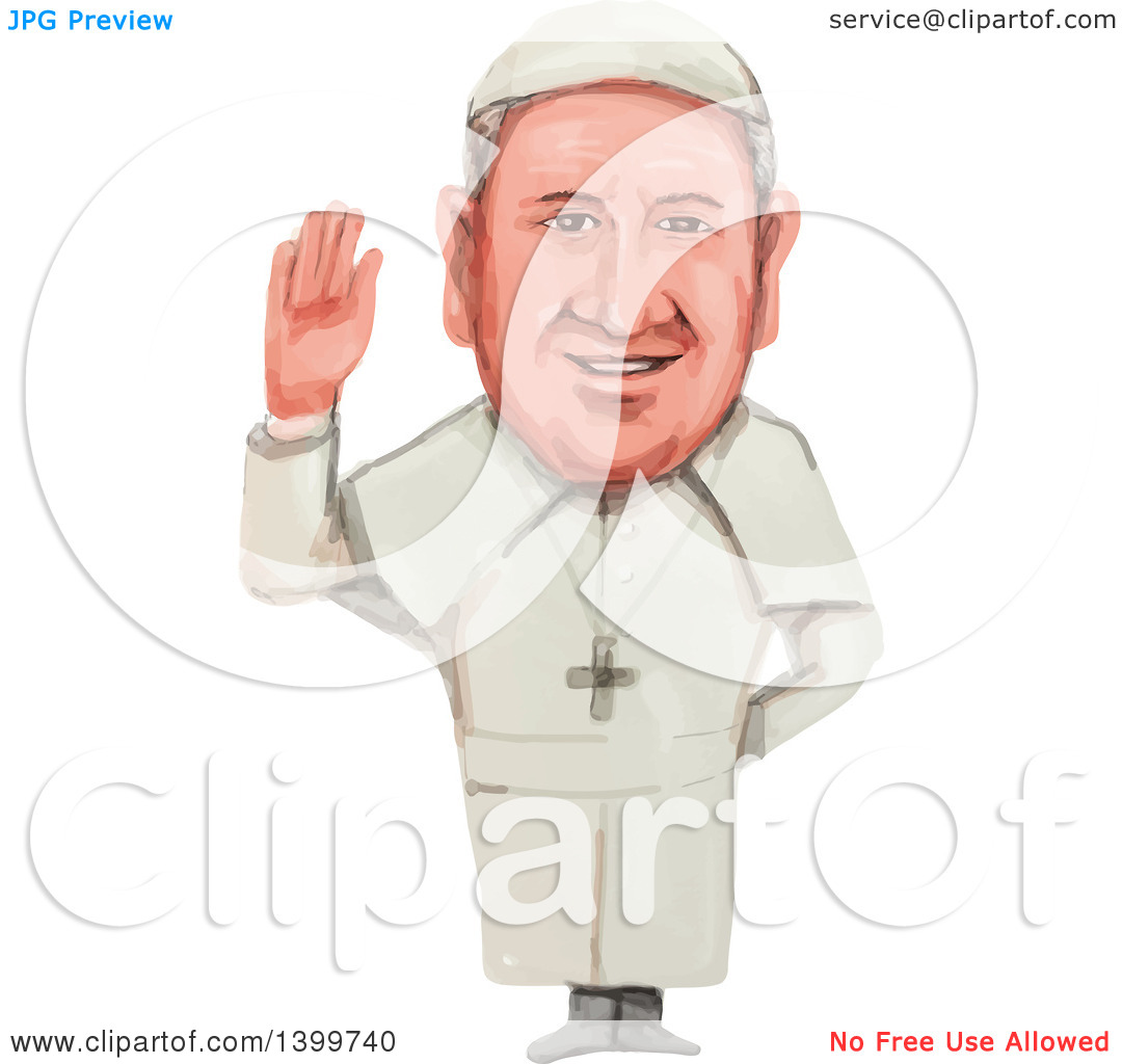 Clipart of a Watercolor Caricature of Pope of the Roman Catholic.