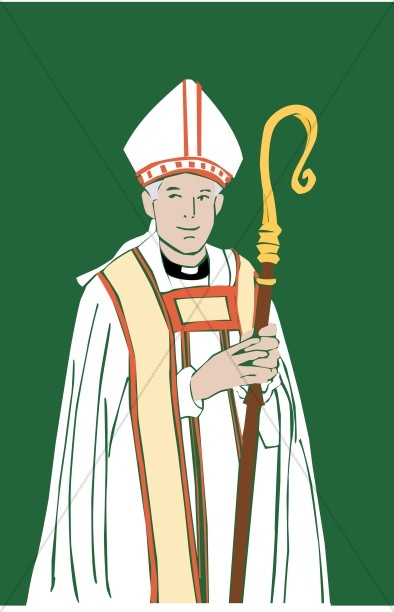 Catholic Bishop with Staff.